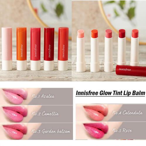Bảng màu Innisfree Glow Tint Lip Balm